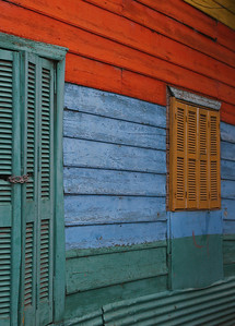 Colorful siding on one of the buildings on Caminito, a pedestrian walkway that is named after a tango song about a rural village.