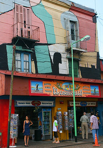 When La Boca was first established, the immigrants painted the buildings in whatever left over paint they could find.  This tradition continues today - at least in the tourist district.