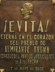 One of the many plaques that adorn the front of the Duarte family crypt where Eva Perón is buried.