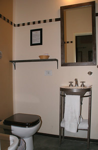 The ensuite facilities are simple, but more than adequate.  There's a tub behind the door on the right (not shown in the picture).