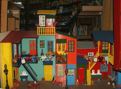 A miniature display of the colorful La Boca buildings.