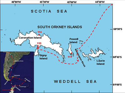 Our route through Washington Strait and then along the southern coast of Coronation Island to Shingle Cove.