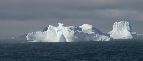 Giant icebergs on a misty morning in the South Orkneys.