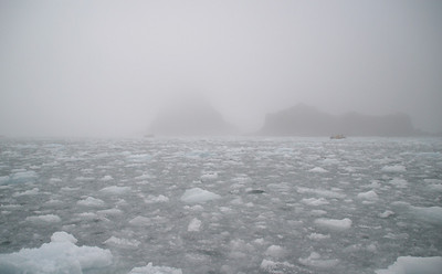 Our zodiac is making its way back through thick, brash ice.  Here's a look back from the glacier towards sea.  You can see a couple other zodiacs from our ship also making their way through the ice.