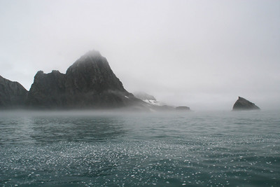 There's a little bit of fog as we approach Elephant Island.  The sea around us is littered with ice chips.  Elephant island was named for the large number of elephant seals that were spotted here by Captain George Powell in 1821.  That said, it seems an odd coincidence that the shape of the island resembles the head of an elephant with the trunk extended. (If you don't believe me, go back and look at the map.)