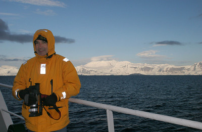 On deck on a cold Antarctic morning.
