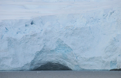 A closer look at the ice cave in the glacier.