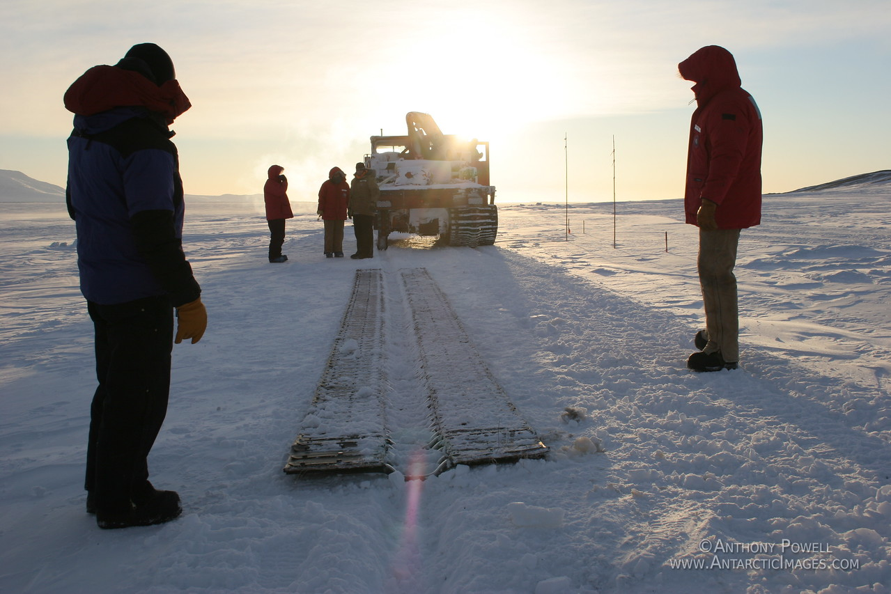 Self-laying track vehicle. 6 hours drive away from McMurdo, 40 below, a storm headed our way in a few hours, and one of the tracks on the vehicle breaks. Events like this are why we always have lots of back-up options available when we travel deep field.