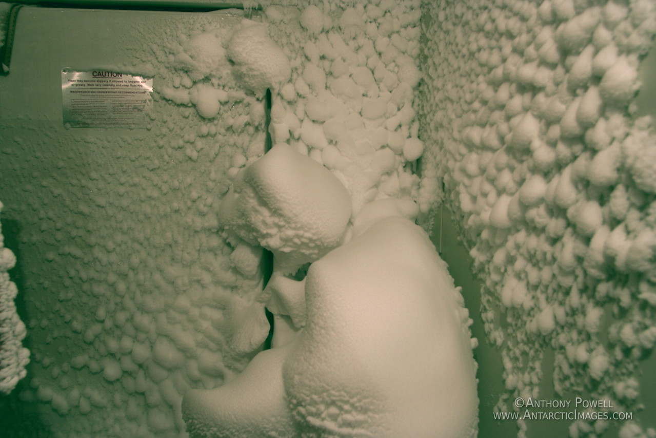 Snow leak. All this snow came in through the the tiny gaps of the rubber seal  around the door. The snow is incredibly fine, and the strong winds will force it in anywhere air can pass.