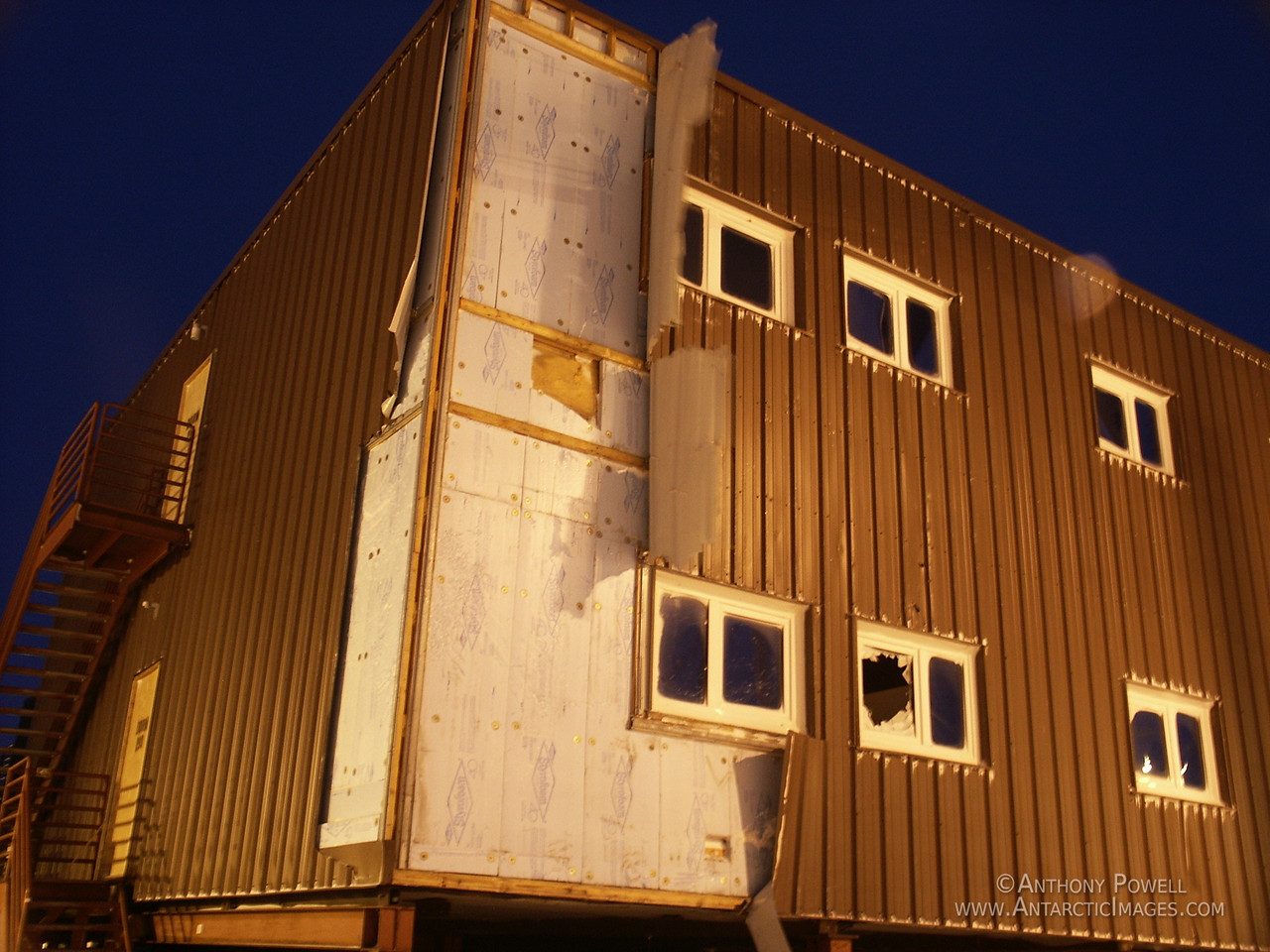 Storm damage to one of the dormitory buildings at McMurdo Station.