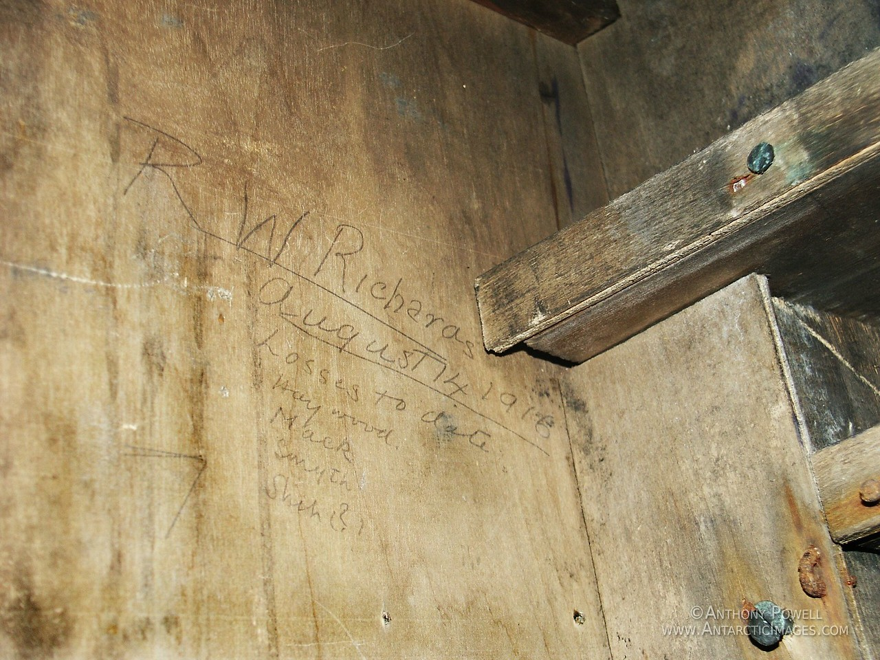 "Inscription on the wall ""Losses to date"" from 1916 under one of the bunks at the Cape Evans historic hut. These were Shackelton's ""Forgotten Men"" who were waiting for him to cross Antarctica, not knowing his ship had been crushed in the ice on the other side of the continent, hence the last name being an abbreviated Shackelton with a question mark after it."