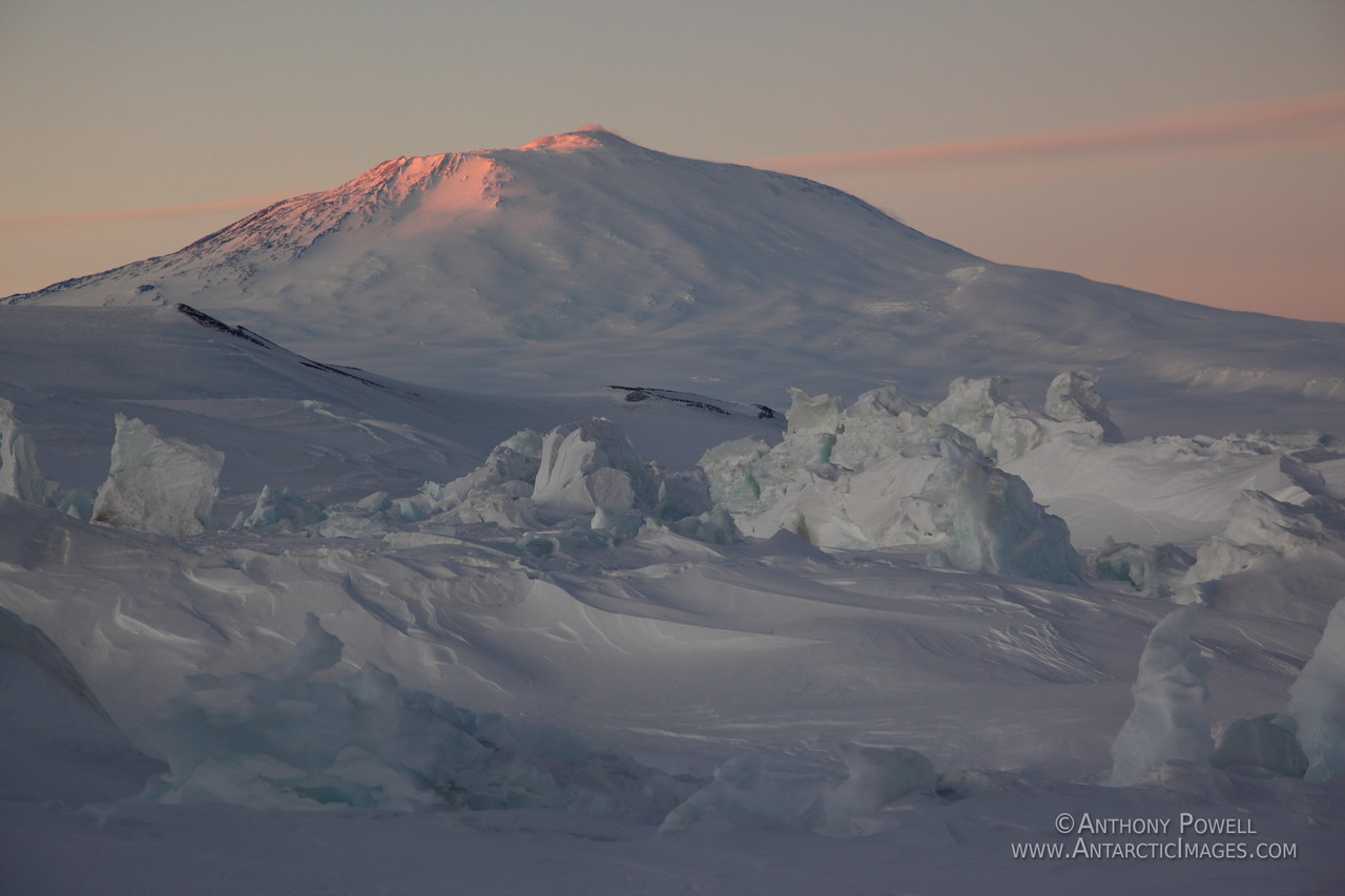 Mount Erebus as seen from the pressure ridges in front of Scott Base
