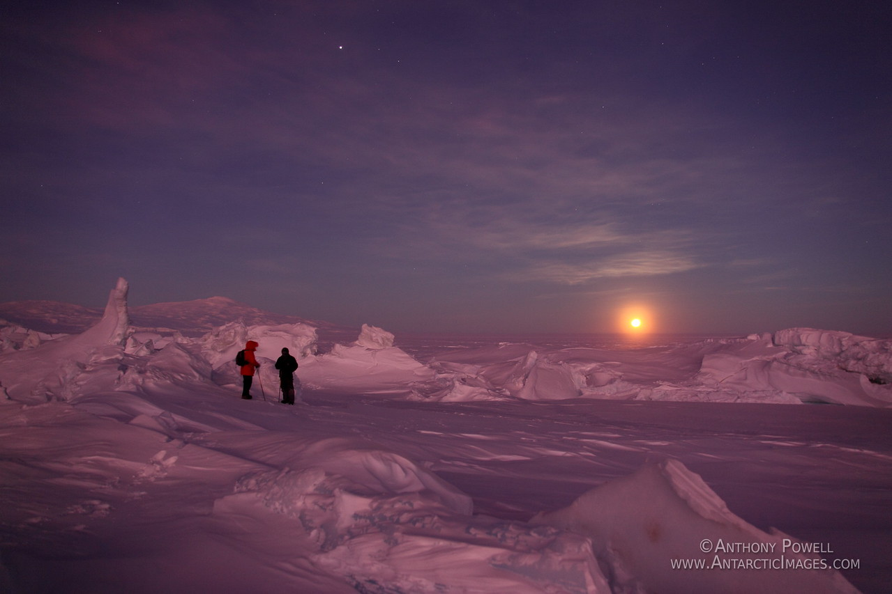 Moon Rise over the Ross Ice Shelf behind the pressure ridges in front of Scott Base.