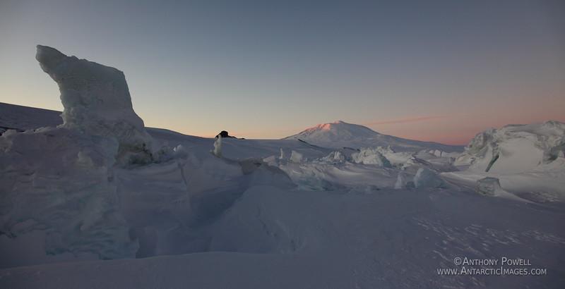 Mount Erebus as seen from the pressure ridges near Scott Base Antarctica