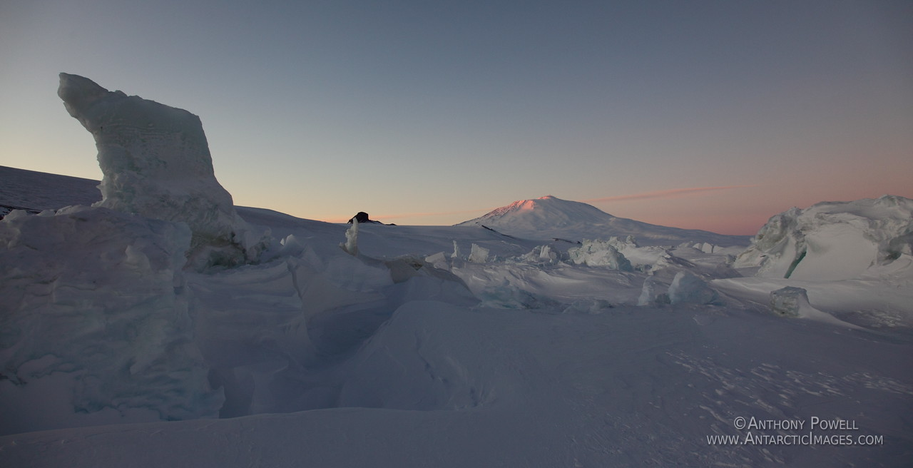 Mount Erebus as seen from the pressure ridges near Scott Base Antarctica