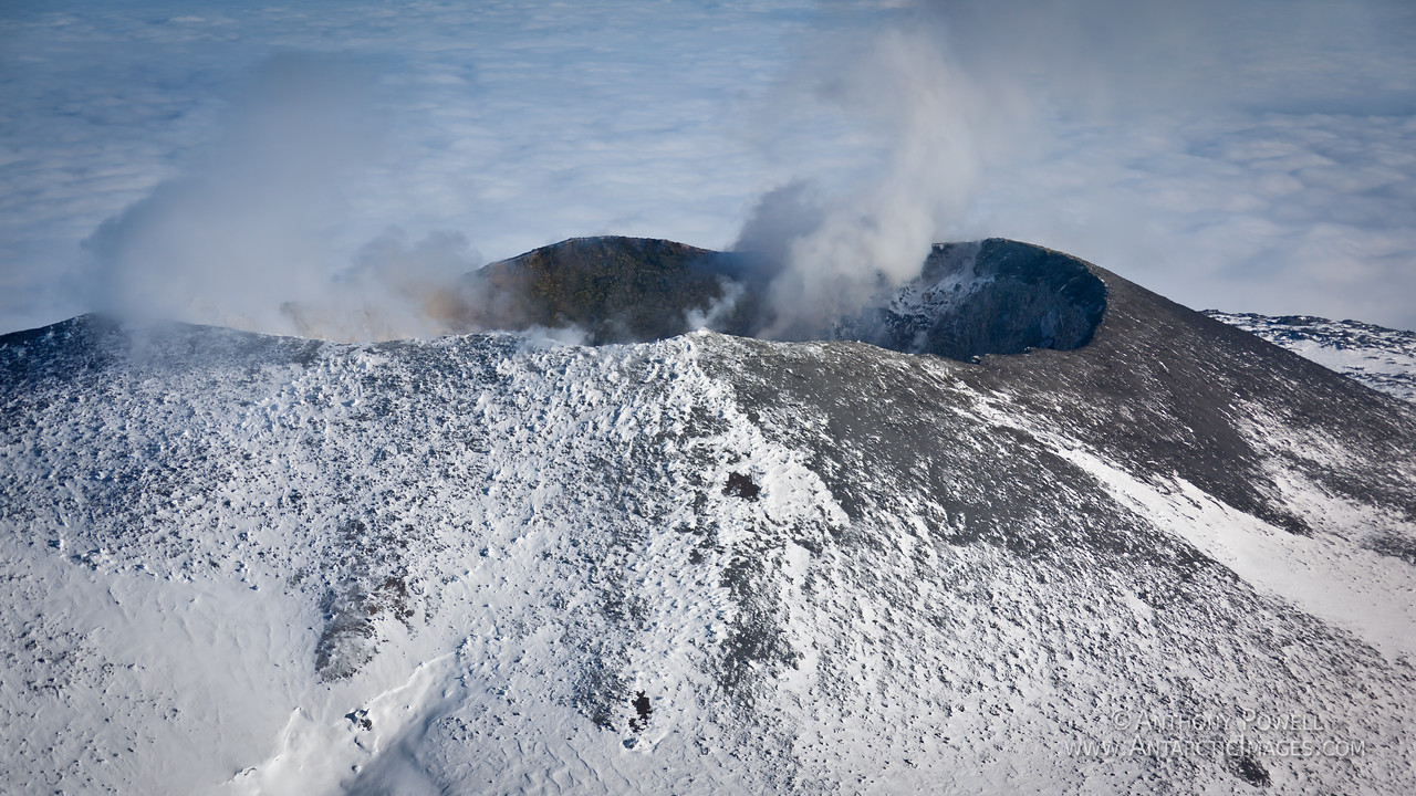 The crater of Mount Erebus, the southernmost active volcano in the world