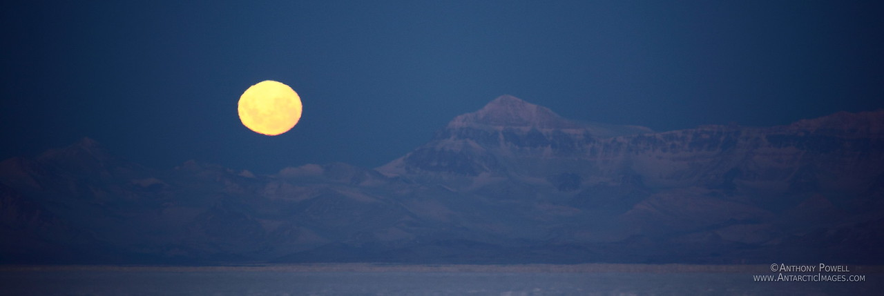 Full Moon setting behind the Trans-Antarctic Mountains