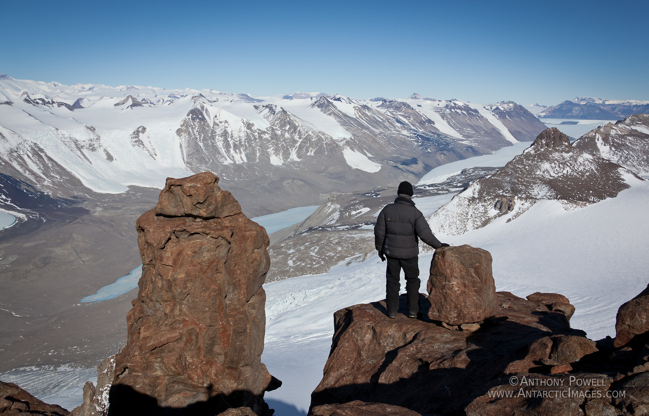 Looking down from 1882 peak to Lake Bonney and the Taylor Glacier, in the Taylor Valley. Dry Valleys Antarctica.