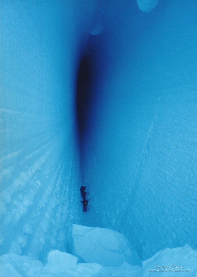 Deep inside a crevasse