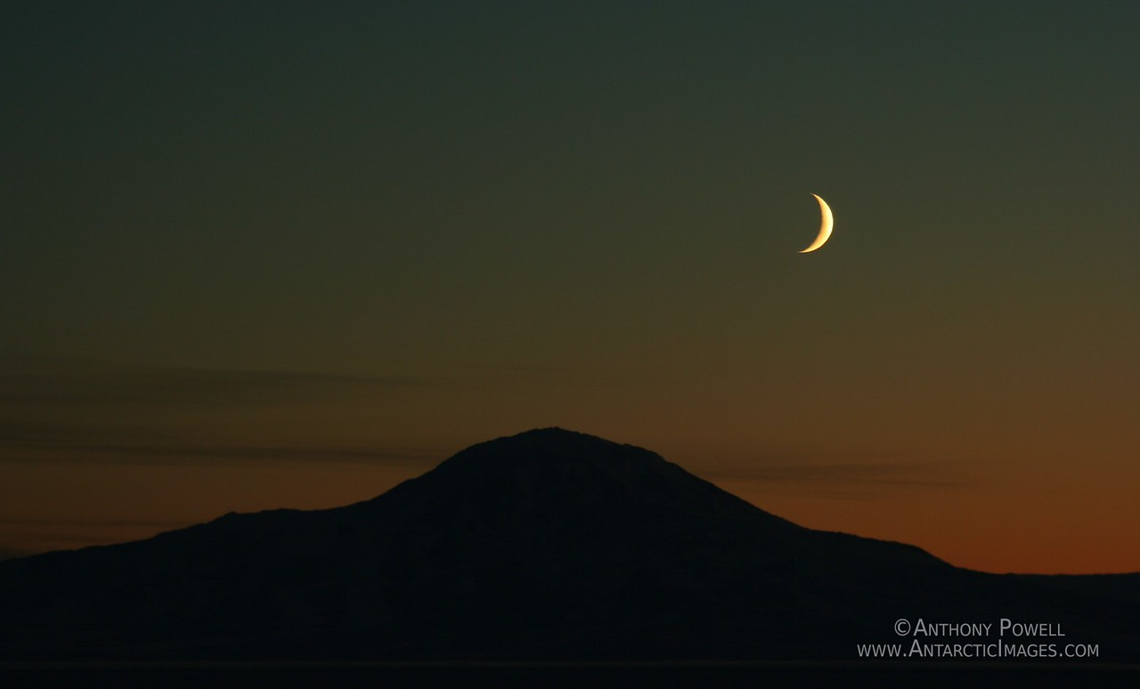 Crescent Moon over Mount Discovery