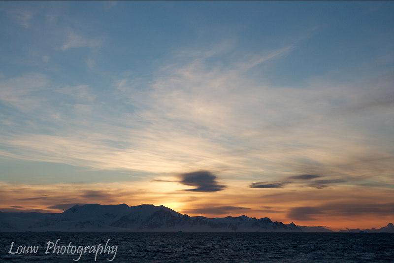 Sunset in the Gerlache Strait, Antarctica