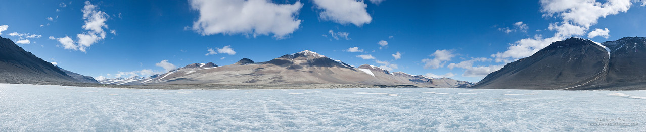 Panoramic 180 degree view of Lake Vanda, Wright Valley, Dry Valleys, Antarctica.