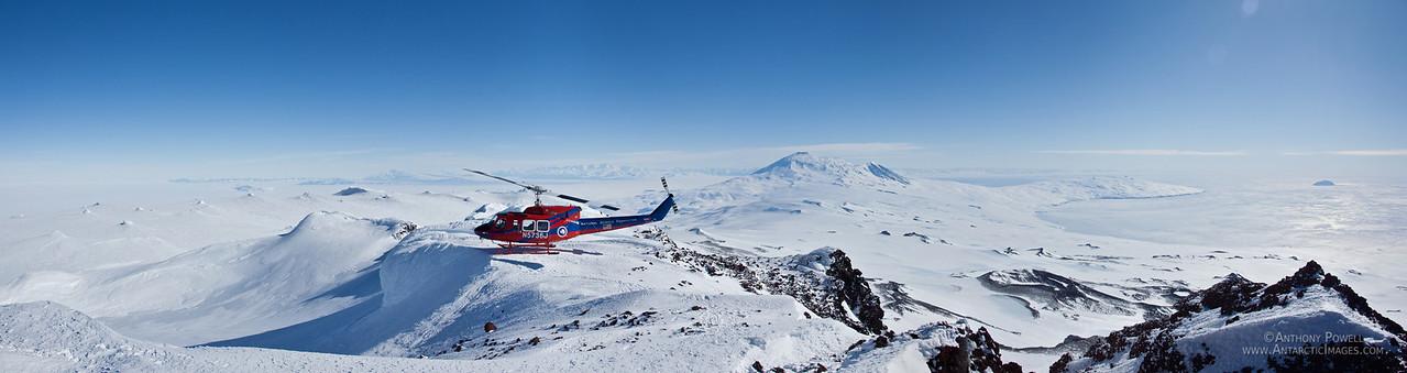 Looking towards Mount Erebus from the summit of Mount Terror. Ross Island, Antarctica