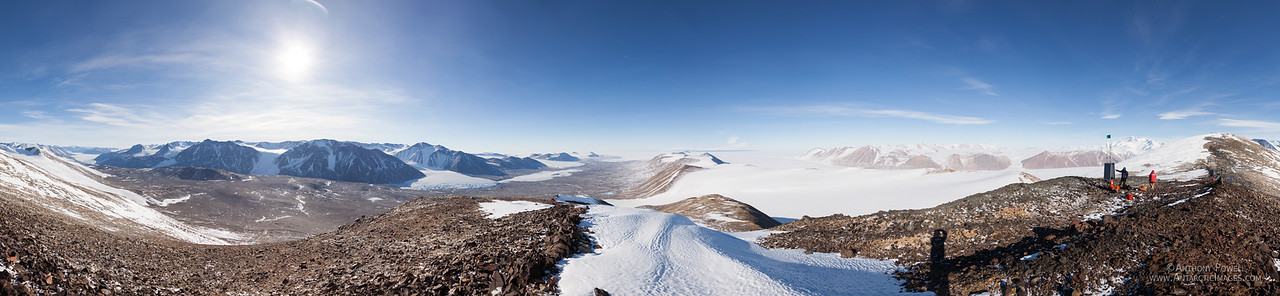 360 degree panorama from the repeater site on Mount Voslips looking down towards Lake Fryxl and across McMurdo Sound to Mount Erebus in the distance. An alternative angle zoomable version of this photo is available here:  http://www.gigapan.com/gigapans/173372