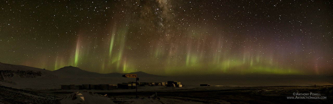 Looking north from Scott Base to an aurora display over Mt Erebus