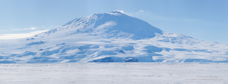 Mount Erebus as seen from the sea ice in McMurdo Sound.