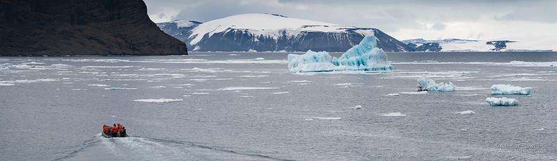 Zodiac and bergs on the Antarctic Peninsula