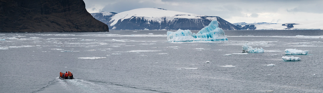 Zodiac and bergs on the Antarctic Peninsula