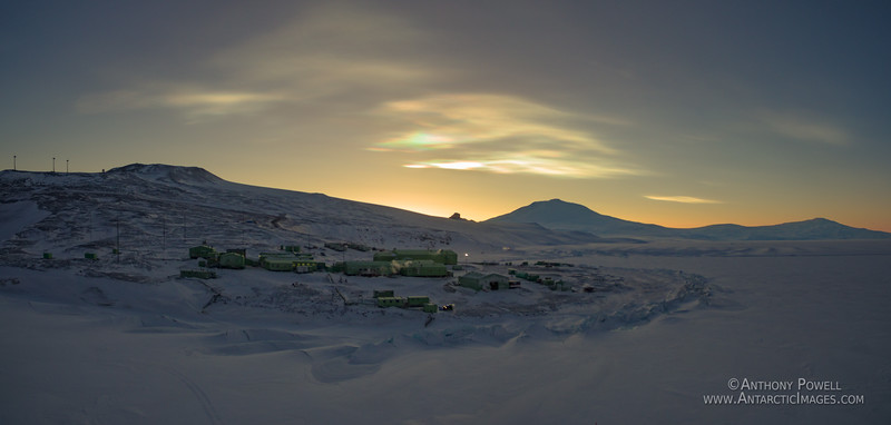 Polar stratospheric nacreous clouds above Scott Base and Mt Erebus in late winter.