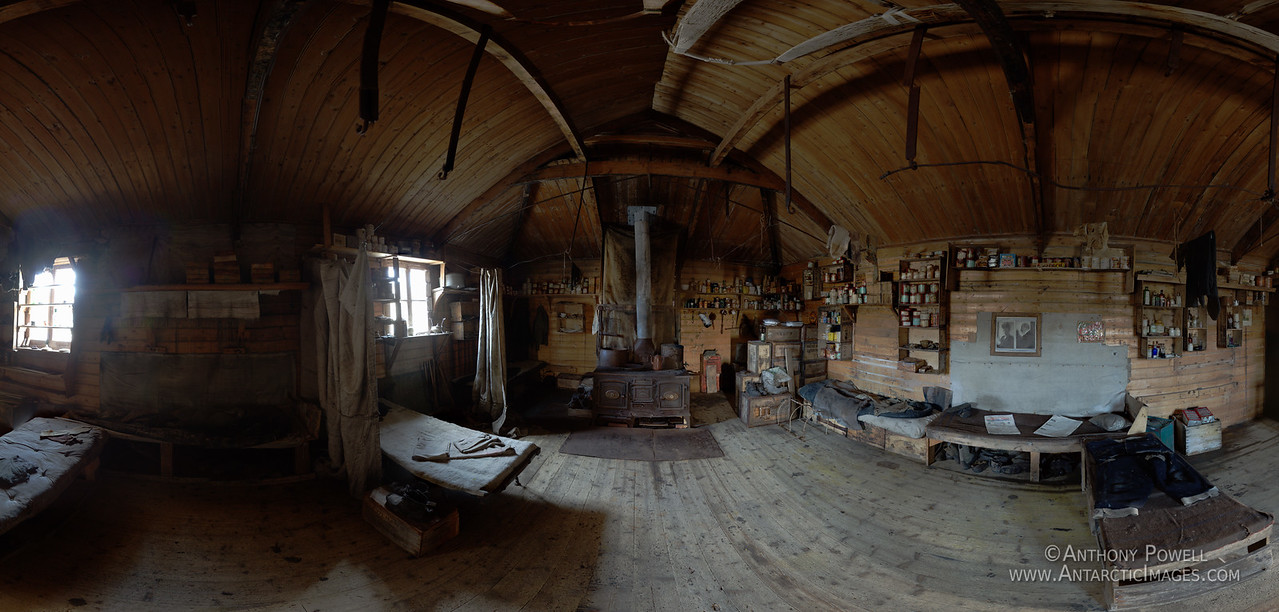 Inside Shackleton's Hut at Cape Royds. A full 360 degree zoomable version of this image can be seen at the link below, large enough to zoom all the way in and read most of the labels on the cans.  http://www.gigapan.com/gigapans/173851  This is not long after the NZ Antarctic Heritage Trust had finished their major restoration project on this hut. For more info visit www.NZAHT.org