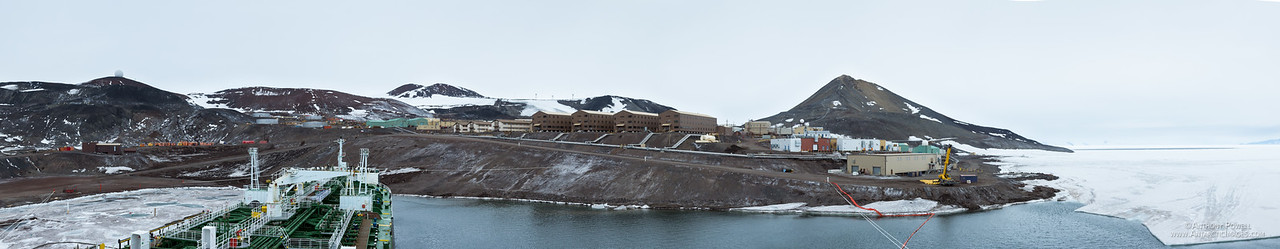 McMurdo Station as seen from the bridge of the annual fuel supply tanker ship.