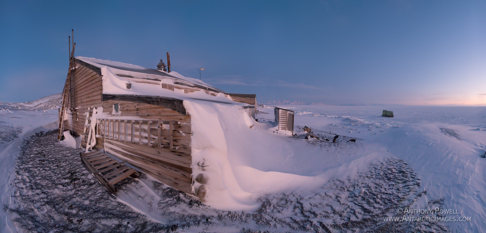 Cape Evans Hut in late winter as the light begins to return to the sky.