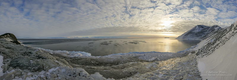Looking north from Hut Point after the sea ice has broken out.