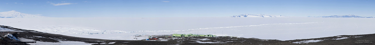 Panorama looking down the hill to Scott Base and across the Ross Ice Shelf. White Island is in the distance, Black Island is on the right, Mount Terror on the left.