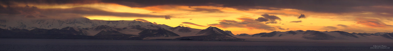 Panoramic view of the Royal Society Mountain Range after sunset