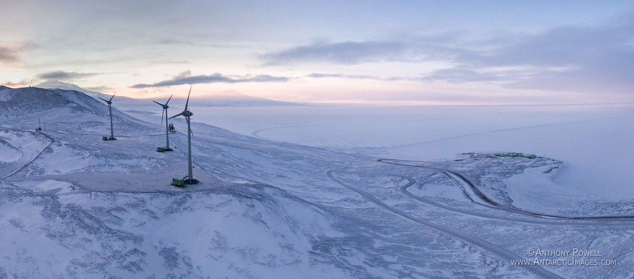 The wind turbines on the hill above Scott Base.