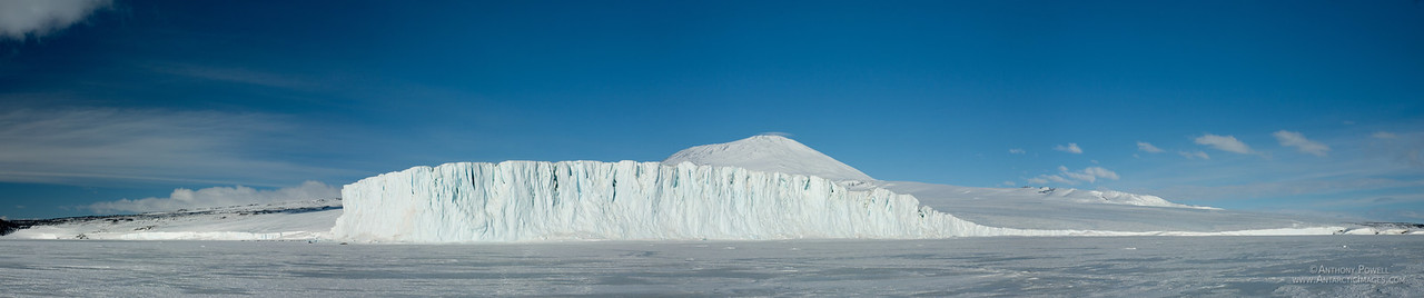Panorama of the Barne Glacier taken from the seasonal sea ice of McMurdo Sound.