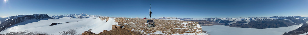 360 degree panorama of one of the riggers working on a radio repeater on Mount Coates in the Dry Valleys. The upper Taylor Valley is to the right, Lake Bonney is on the extreme right hand side of the picture.