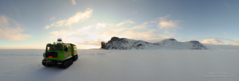 Scott Base hagglunds returning across the sea ice after a trip to Cape Royds