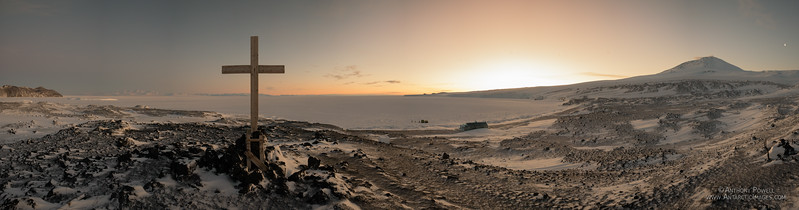 Winter twilight at Cape Evans, looking North as the sun begins to return after the dark winter months.