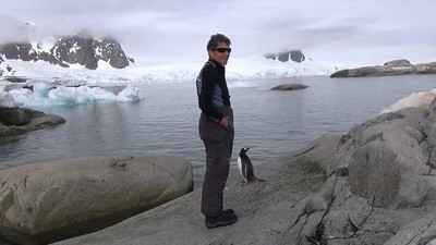 Gill & the Penguin on Petermann Island. 13 jan 2015
