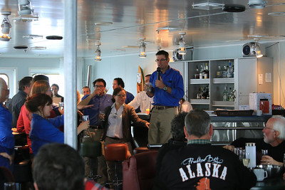 Antarctica - Jan 2013 - Sergey Vavilov Circle Trip, The One Ocean Expedition staff leader Graham Charles, leads a toast: .