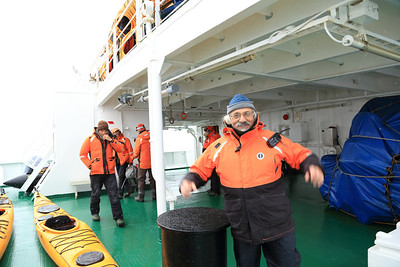 Antarctica - Jan 2013 - Sergey Vavilov Circle Trip, The One Ocean Expedition staff:  Ira getting ready for a Landing.