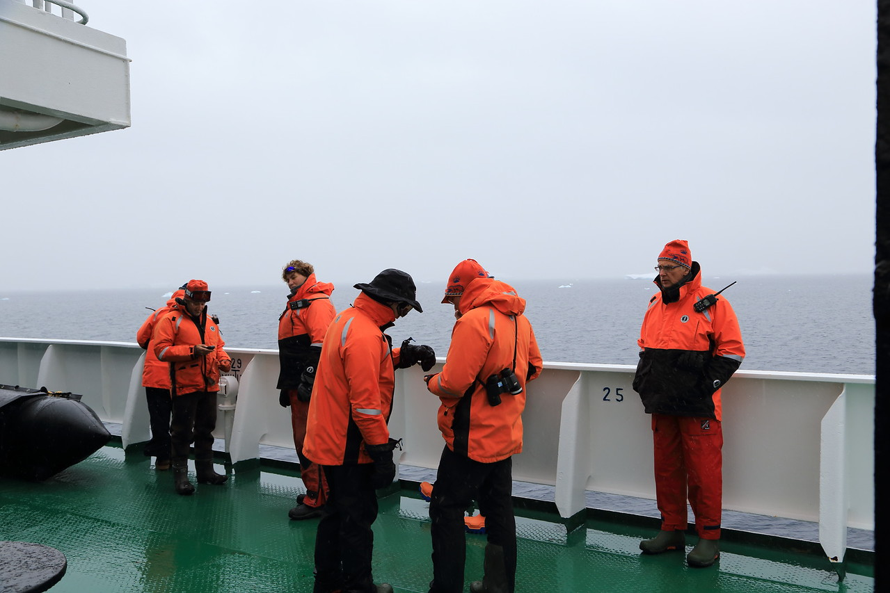 Antarctica - Jan 2013 - Sergey Vavilov Circle Trip, The One Ocean Expedition staff  our good Dr. on the far right,
