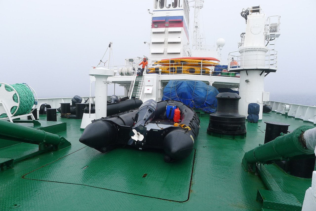 Antarctica - The ship, Sergey Vavilov for the Circle Trip, Jan 2013: some of the  Zodiacs & Kayaks on the stern.