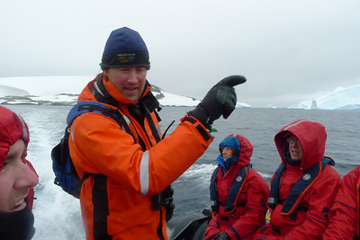 Antarctica - Jan 2013 - Sergey Vavilov Circle Trip, The One Ocean Expedition staff:  Ken Wright (naturalist) running a Zodiac.